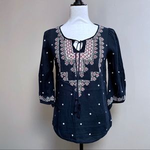 Anthropologie Stitched Medallions Boho Peasant Top